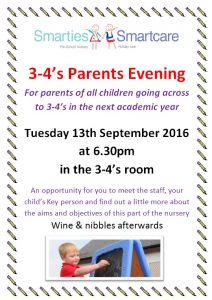 Parent's Evening for children starting in 3-4's in 2016/17 Academic Year