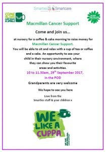 Fri 29th Sept Coffee morning for Macmillan Cancer Support