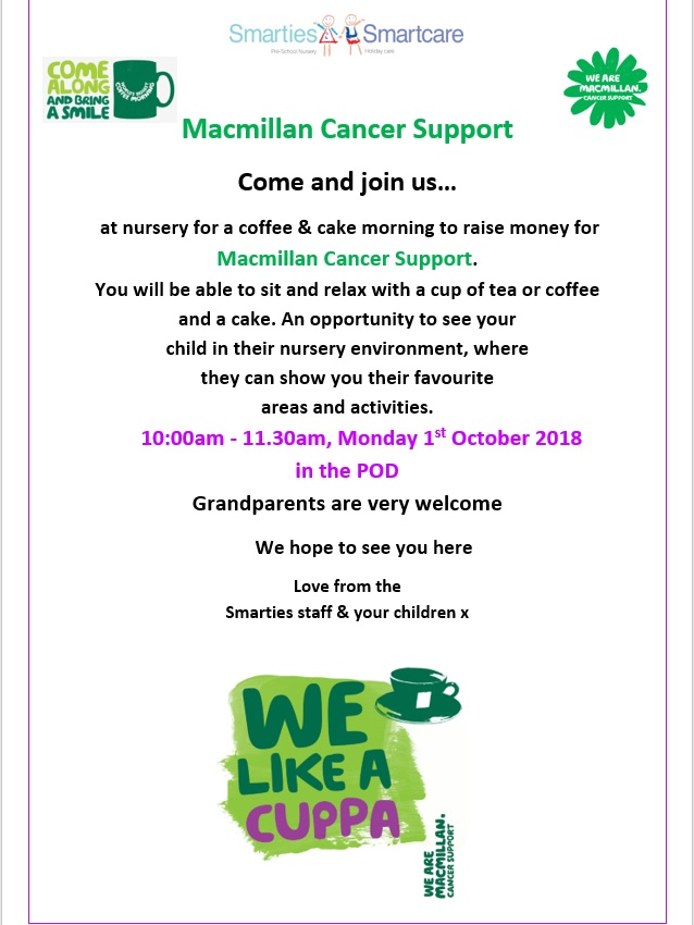 MacMillan Coffee Morning Monday 1st October 2018