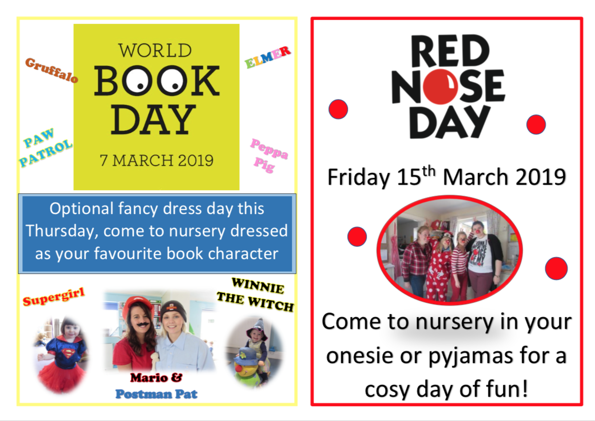 World Book Day 7th March and Red Nose Day 15th March
