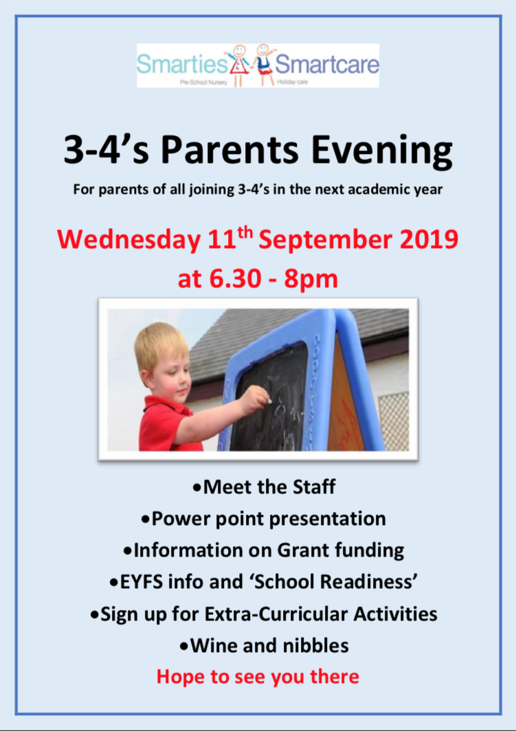 3-4's Parents Evening Wednesday 11th September