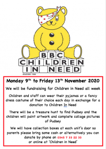 Children In Need Fundraising Monday 9th to 13th November 2020